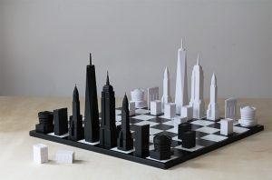 شطرنج جالب با مهره هایی به شکل ساختمان