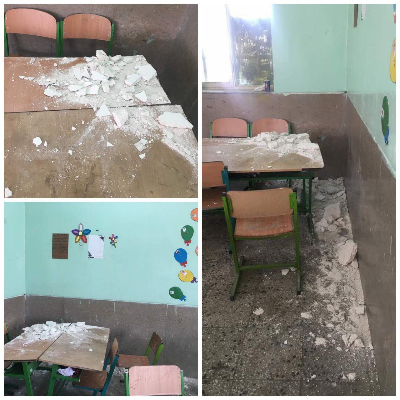 سقف غیر ایمن مدرسه باز هم حادثه ساز شد