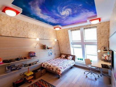 دکوراسیون اتاق کودک با سقف کشسان