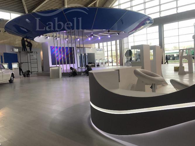 طراحی غرفه نمایشگاهی با متریال لابل